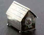Antique Silver Box - Victorian Sterling Silver Dog Kennel Essex Crystal Bulldog Carving Collectable