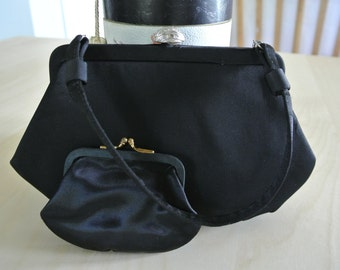 1950s 1960s Black Handbag/Small Kelly Purse/Party Formal Evening purse/clutch/handbag with Coin Purse