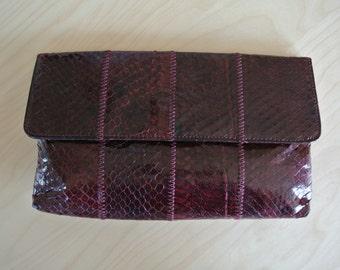 1960s Margolin Snakeskin Clutch envelope Style Handbag Maroon