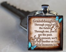 Granddaughter Keychain - Through you I see the future - Gift for Grandaughter