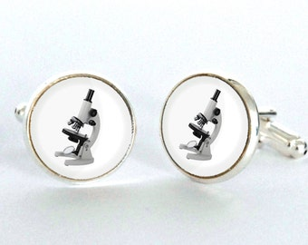 Microscope Cufflinks - Scientist Cufflinks - gift for him or her - science lover gift -science jewelry