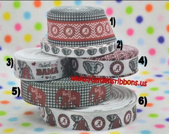 3 yards University Of Alabama - Roll Tide - 3/8 in, 7/8 in, 1 in Printed Grosgrain Ribbon - CHOOSE DESIGN