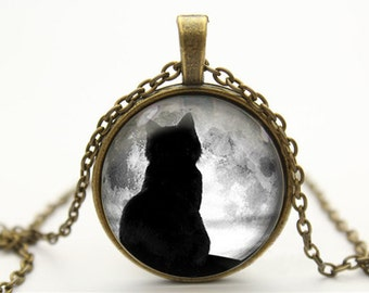 cat necklace full moon necklace moon necklace pendant- with free jewelry box