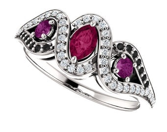 Rhodolite Garnet, Purple, Black & White Diamonds 14K White Gold