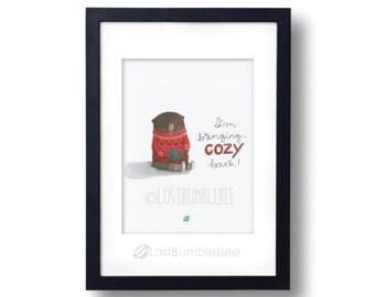 I'm Bringing Cozy Back, Instant Download, Cute Hand Painted Bear, Hand lettered, handlettering, digital illustration, sweater, glasses, bear