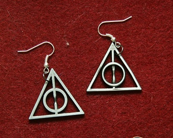 Wizard symbol earrings Harry Potter inspired deathly hallows