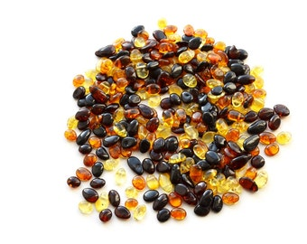 Drop Multicolor Baltic amber beads Polished with holes 300 units drilled Amber loose beads for jewelry making 4395