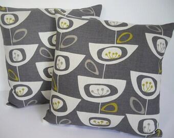 John Lewis Mid Century print Seedhead cushion cover - Steel Grey