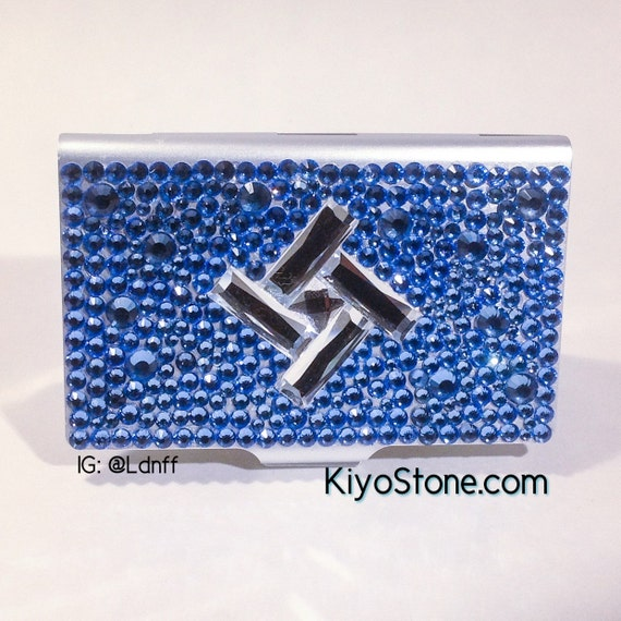 Blue bling rhinestone business card case holder with crystal for Bling business card holder