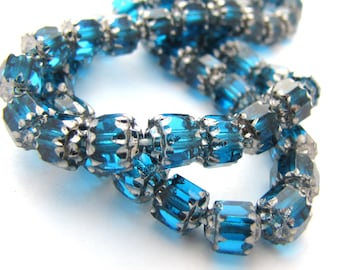 Aqua Blue with Silver 6mm Facet Barrel Cathedral Czech Glass Fire Polished Beads 25pc #2258