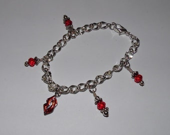 Red Crystal Bead Twisted Flat Chain Bracelet