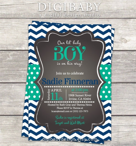 boy baby shower invitation chalkboard chevron polkadot custom colors