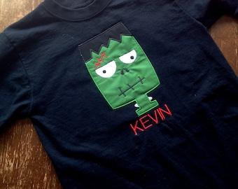 Crazy Frankenstein monster face machine applique design in 4 sizes.  Frankenstein design is a perfect for a Halloween T-shirt