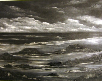 Cloudy Ocean at Dusk an Original Oil in full color on 36x24x1 canvas