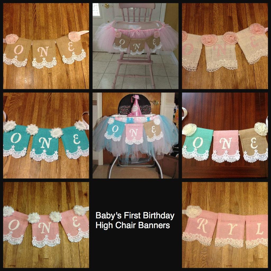 Baby's First Birthday High Chair Banner Regular Burlap