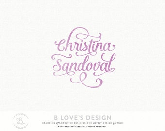 Pre-Made Customizable Logo Handwritten Calligraphy Swirls Font Name for Small Business, Photography, Design, Blog