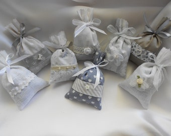 8 Lavender sachets Collection grey/white (14/0)