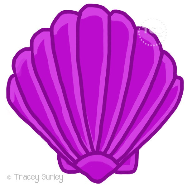 Purple Scallop Shell Original art download 2 files scallop