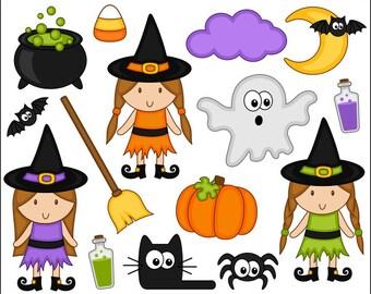 Cute Halloween Clipart, Cute Witch Digital Clip Art, Pumpkin, Black Cat, Ghost, Spider - Instant Download Clipart - YDC027