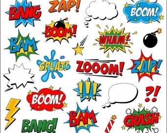 Superhero Clipart Comic Book Clip Art Comic Text Speech Bubbles - Boom, Zap, Bang, Bam, Crash, Pow Sounds Sayings - YDC096