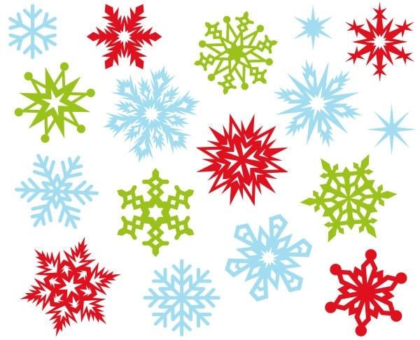 Christmas snowflakes cute digital clipart clip art