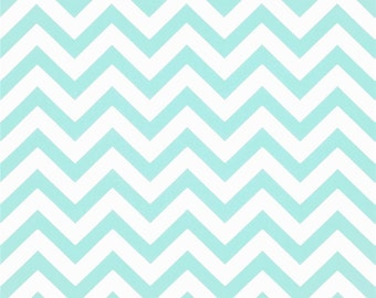 SALE - Premier Prints Zig Zag Mint Chevron Stripe Cotton Twill Home Decor Fabric by the 1/2 yard