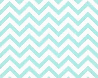 SALE - Premier Prints Zig Zag Mint Chevron Stripe Cotton Twill Home Decor Fabric by the 1/2 yard