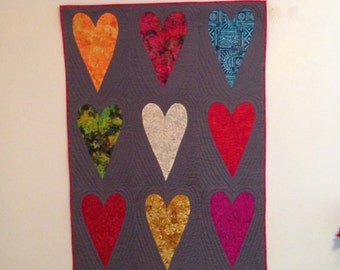 Hearts on Grey Quilt, Wall Hanging
