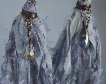 Faded Denim Sari Silk Shoulder Duster Earrings with Teardrop Czech Glass Faceted Bead and Niobium Ear Wires