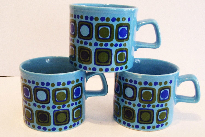 3 Coffee Mugs Cups Mid Century Modern Staffordshire England