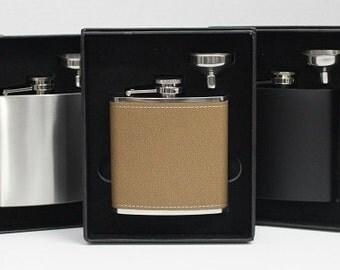 Rustic Groomsmen Gift - Custom Engraved Leather Liquor Flask & Funnel Set - Monogrammed Flasks - Groomsman - Best Man - Ring Bearer - Gift
