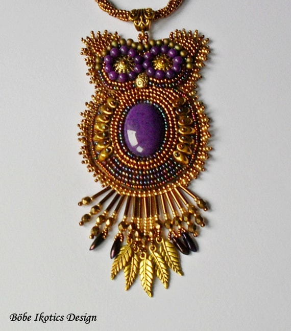 Bead embroidered necklace owl bronze gold by