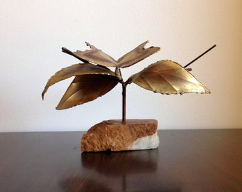 Midcentury Stone and Metal Butterfly Art Sculpture