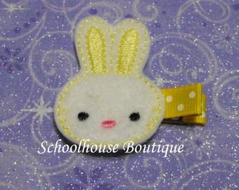 Yellow Bunny felt Hair Clips,Easter Basket Filler, Felties, Feltie Hair Clip, Felt Hair Clips, Felt Hair Clippie, Party Favor