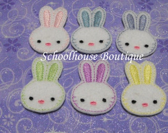 Easter Bunny felties variety mix, feltie, machine embroidered, felt applique, felt embellishment, felt planner clip, felt badge reel