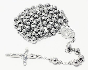 Rosary Chain White Stainless Steel 31 Inches 6mm Necklace