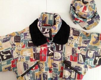 Retro Ski Jacket and Hat / Wild Pattern in Nils Downhill Ski Coat /  Great Retro Mod Skiwear /