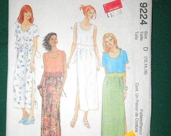 McCalls 9224, size 12, 14, 16  UNCUT sewing pattern, misses, womens, dress