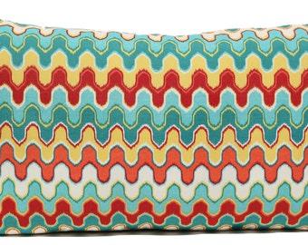 Adras Ikat Pillow - Flame Stitch - Mod - Abstract - Red - Yellow - Orange - Turquoise - Aqua - Blue - Decorative Pillow - Lumbar Pillow