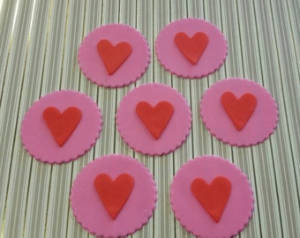 Set of 12 edible valentine  cupcake toppers!