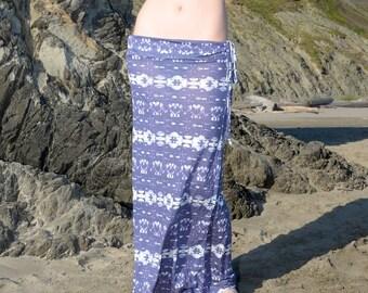 AZTEC TRIBAL tie dye striped  boho chic summer  stretchy beach lounge festival resort tube mermaid  maxi skirt