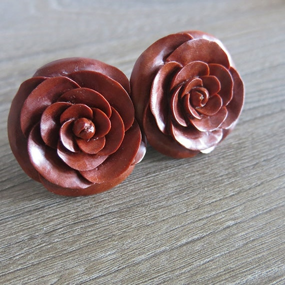 Saba Rose Earrings, Wood earrings, Fake Plug Earring, Bali Unique Handmade Jewelry