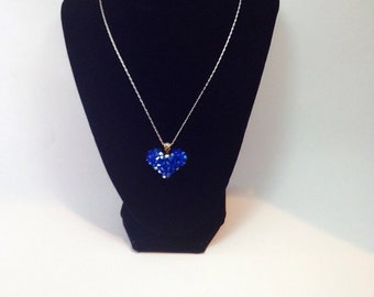 Bright Blue Swarovski heart necklace     bride or bridesmaid necklace