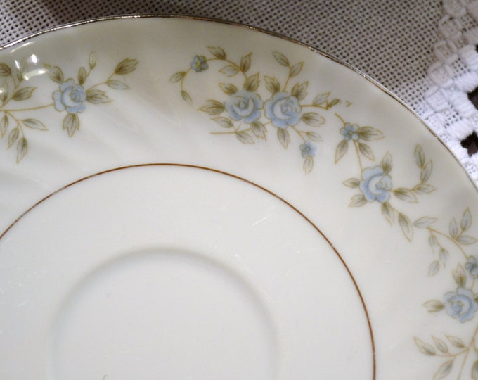 Vintage M Japan Camelot Saucer White Blue Flowers Set of 8 Replacement PanchosPorch