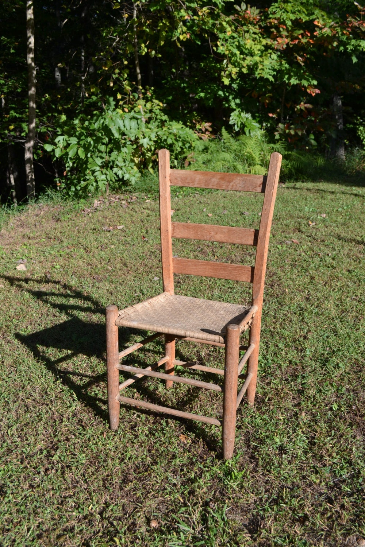 Vintage Antique Ladder Back Wooden Chair Woven Seat Primitive