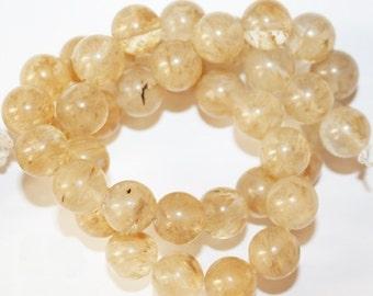 """Quartz  Beads - Round 10 mm Gemstone Beads - Full Strand 15 1/2"""", 38 beads"""