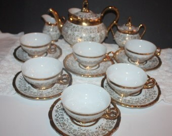 Beautiful Vintage Schirnding Bavaria Gold Floral Tea Set of 6