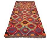 """VINTAGE Turkish Kilim Diamond Antalya Kilim Rug Carpet circa 1950 - 130"""" x 60"""" (330 x 153 CM)"""