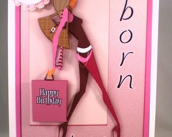 Handmade Decoupage/3D Girl Shopping Birthday Card, Fashion ,Personalise, 18th, 21st