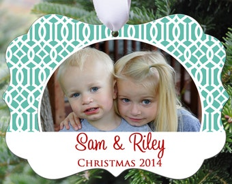 Personalized Photo Christmas Ornament - Lattice Design -Double Sided - Aluminum